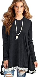 Sunfung Women's Lace Long Sleeve Tunic Tops Shirt Clothing Scoop Neck Womens Plus Size Tunic Blouses Tops