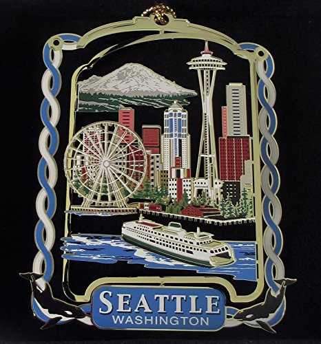 Nations Treasures Seattle Washington City Skyline Christmas Ornament