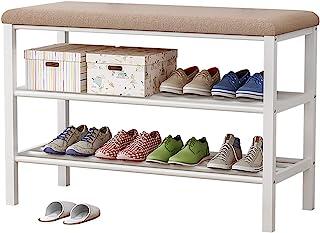 Plasaig - Banc à chaussures, étagère à chaussures à 3 niveaux avec siège rembourré et cadre en acier, pour entrée, couloi...