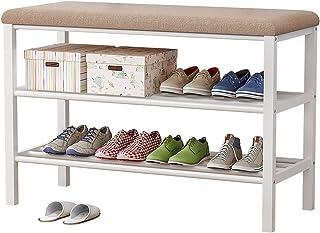 Plasaig - Banc à chaussures, étagère à chaussures à 3 niveaux avec siège rembourré et cadre en acier, pour entrée, couloir...