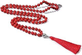 108 Mala Beads Necklace Semi-Precious Gem Stones Meditation Necklace 108 Hand Knotted Japa Mala Beaded Tassel Necklace with Tree of Life Pendant