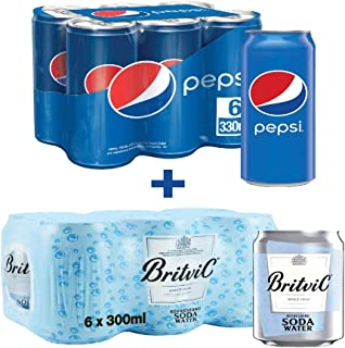 Pepsi Carbonated Soft Drink (Cans), 330ml x 6 + Britvic Soda Water, 300ml x 6