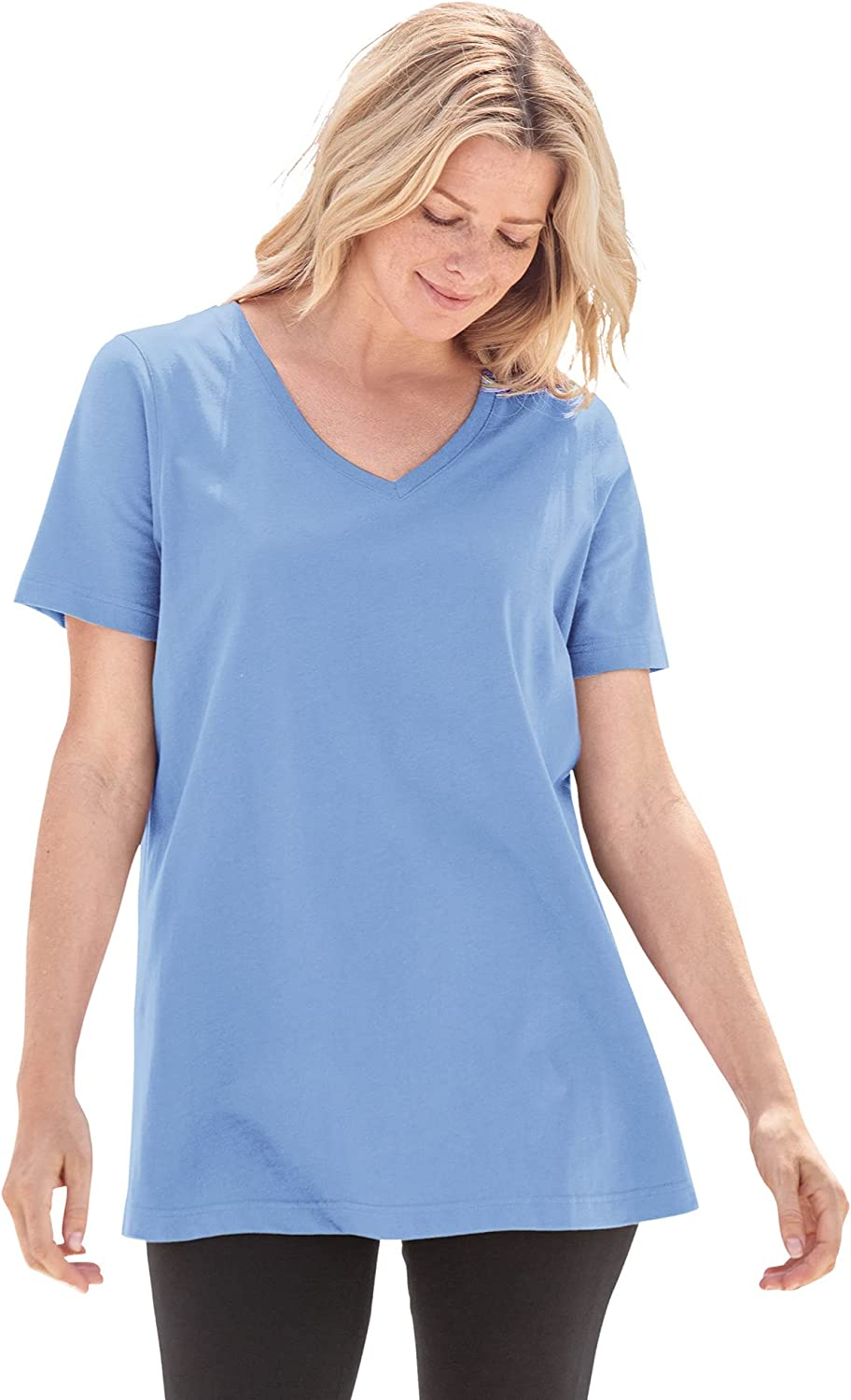 Woman Within Women's Plus Size Petite Perfect Short-Sleeve V-Neck Tee Shirt