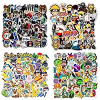 Paquete de Pegatinas Geniales de 200 piezas, Pegatinas de Pokemon/Naruto/Rick and Morty para Niños, Pegatinas de Anime para Adolescentes para Monopatín,Portátil, Automóvil