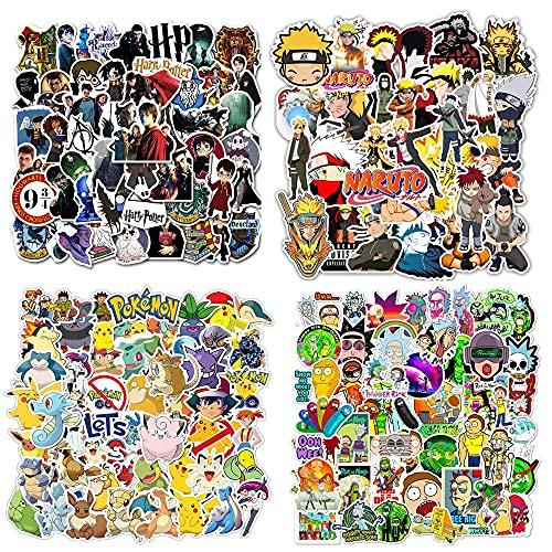 NEULEBEN Aufkleber 200 Stück, Wasserdicht Vinyl Stickers, Pokemon / Naruto / H_arry Po_tter / Rick und Morty Aufkleber, Anime Aufkleber für Skateboard Bike Laptop Auto (Kinder und Teenager)