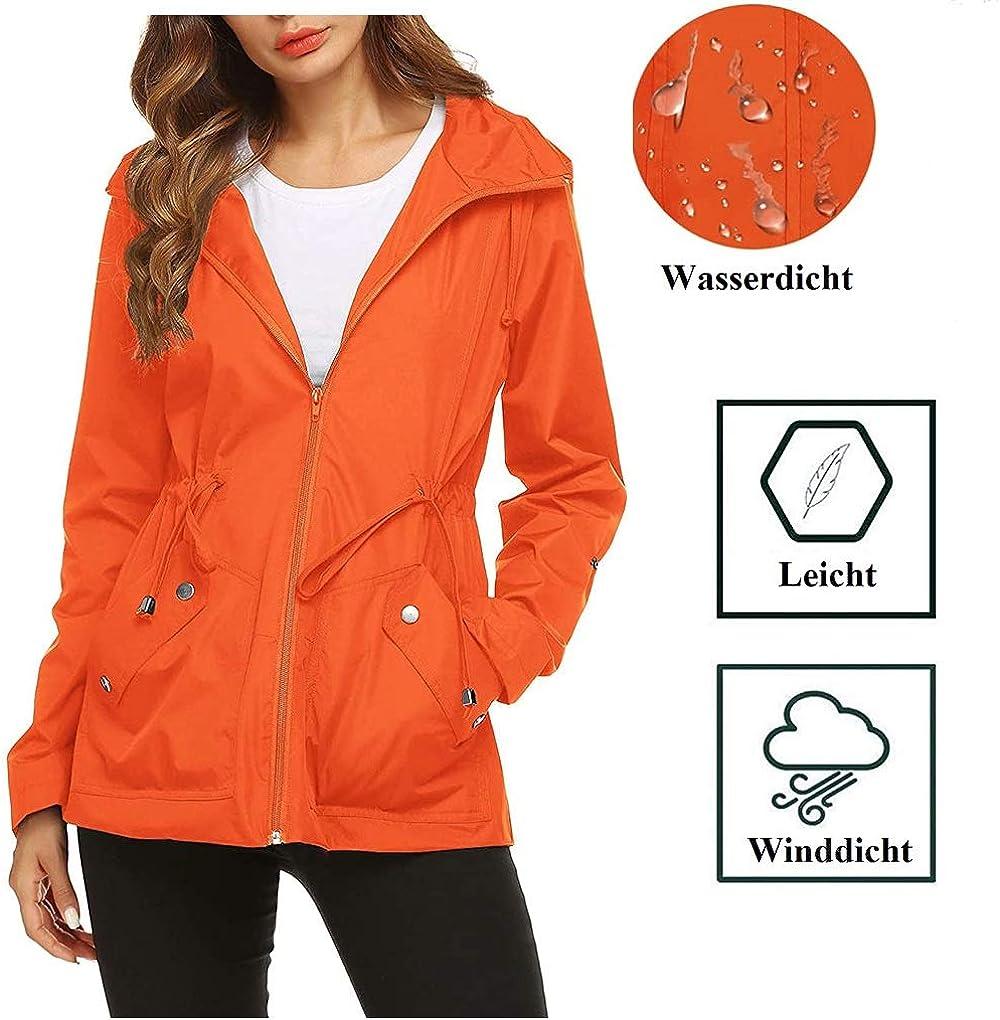 Imily Bela Damen Regenjacke Wasserdicht Leicht mit Kapuze Kurz Regenmantel Winddicht mit Tunnelzug Parka Outdoor Jacke Orange