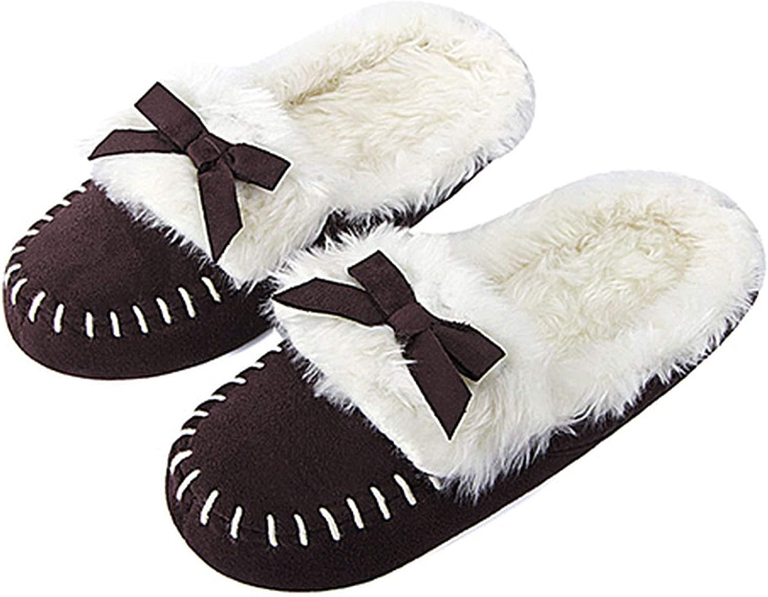 PilotageAuto Home Slippers Winter shoes Cute Bow Fur Indoor Floor shoes Cotton Plush Fluffy Slipper