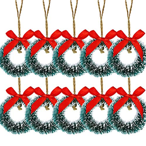 10 Pcs Mini Frosted Sisal Wreaths Artificial Hanging Christmas Wreaths Miniature Wreath Ornaments Bottle Brush Wreath in Green 2.4' Wide for Holiday Season Craft Supplies Vintage Decorations