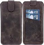 Burkley Handyhülle für iPhone 6 Plus/iPhone 6s Plus Hülle mit Rückzug-Funktion Handy-Tasche Rindsleder Sleeve mit Kartenfach (Antik Braun)