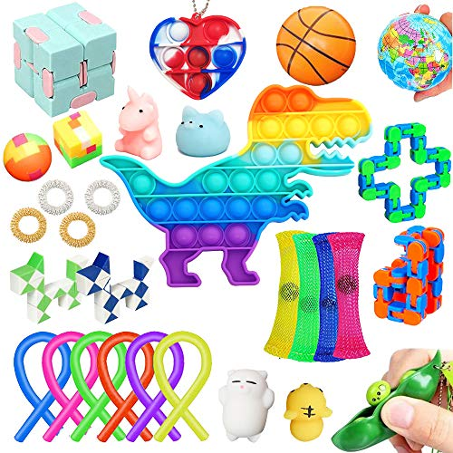 30 Pack Fidget Toy Set Relieves Stress Anxiety Sensory Fidget Toys for Kids & Adults, Fidget Pack with Pop Bubble, Simple Dimple Fidget Toy, Squishy Toys, Squeeze Balls & More