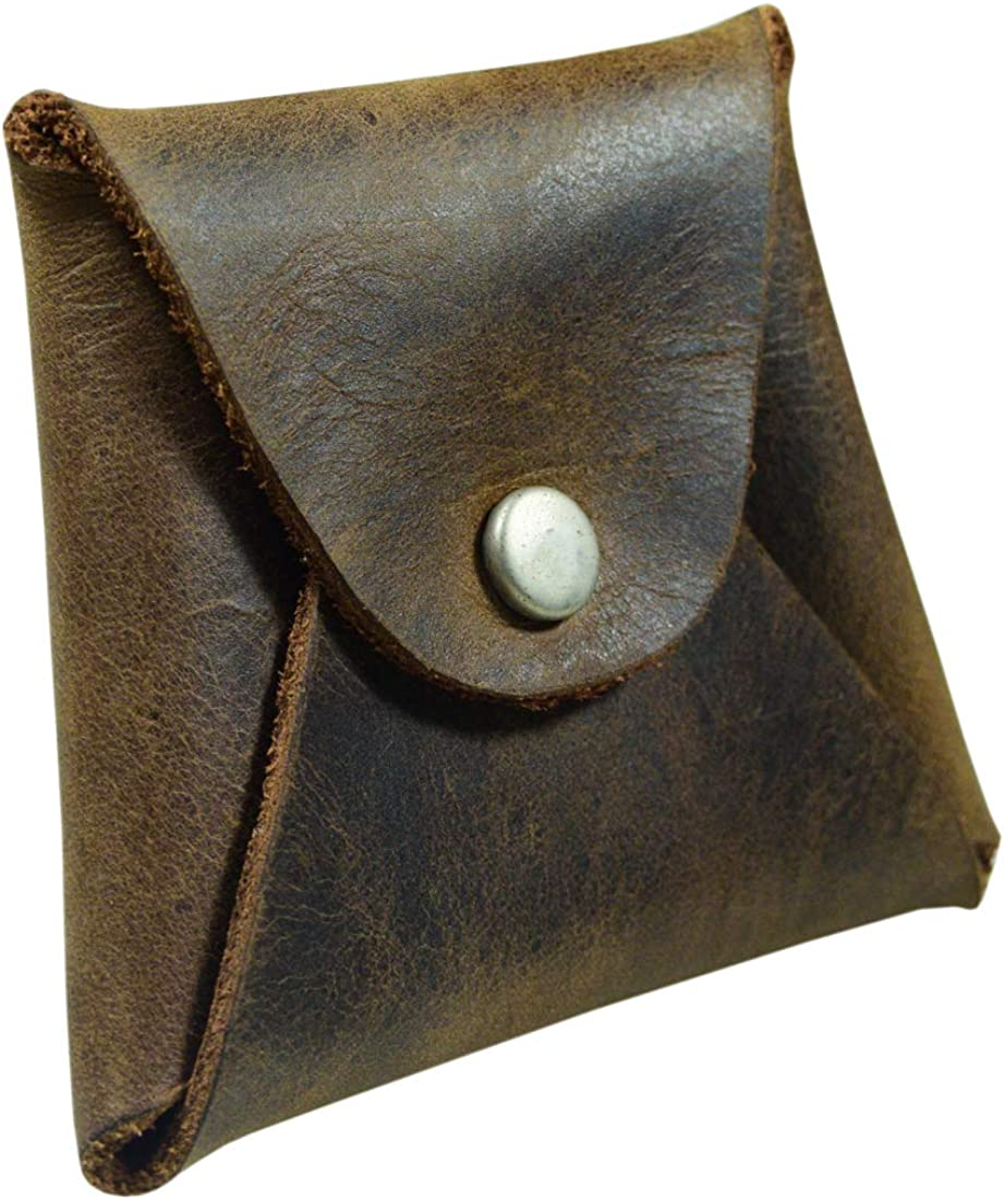 Hide & Drink, Leather Trapezoid Coin Pouch, Cash Holder, SD Card Organizer, Pocket Accessories, Handmade Includes 101 Year Warranty :: Bourbon Brown