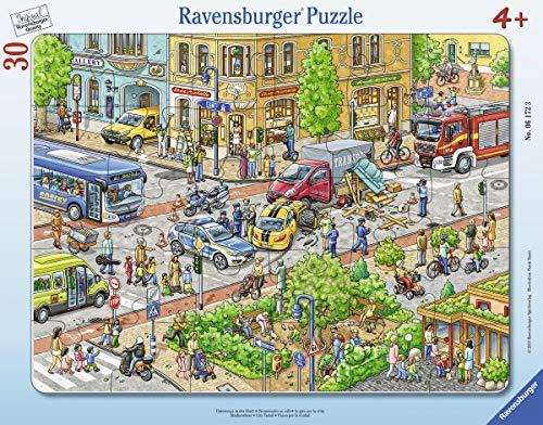 Ravensburger Kinderpuzzle 06172 - Unterwegs in der Stadt - Rahmenpuzzle