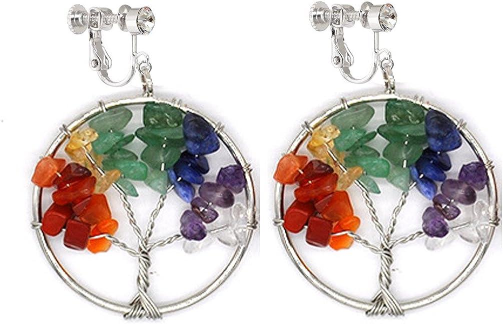 Dangle Clip on Earring Tree Jewelry Amethyst Peridot Chakra Wire Wrap Gemstone for Women