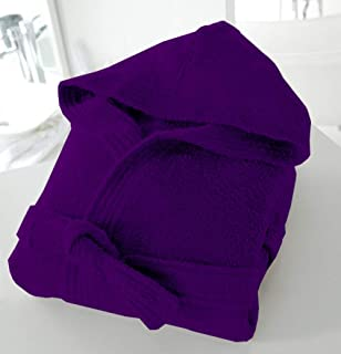 Uni Sex 100% Cotton Terry Towelling Hooded Bath Robe Purple_Small/Medium