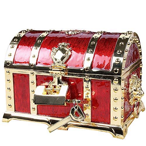 アンティーク RPG 宝箱 海賊 財宝 鍵2本付き ジュエリーボックス 小物入れ アクセサリーケース (ゴールドレッド)