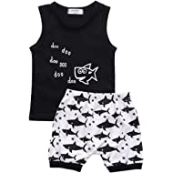 Baby Boy Girl Clothes Shark and Doo Doo Print Summer Cotton Sleeveless Outfits Set Tops and Short...