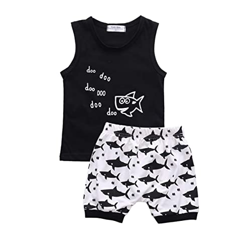 US Stock 2PCS Baby Boys Shark Vest Tops+Shorts Pants Summer Outfits Set Clothes