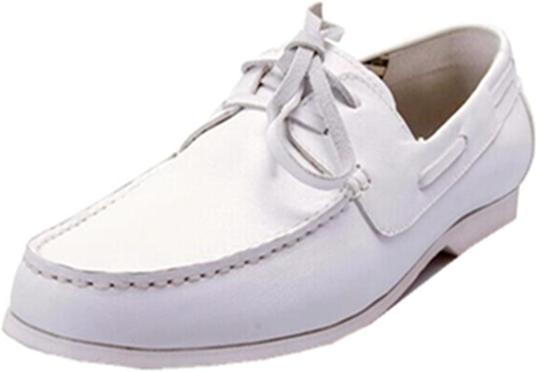 HAPPYSHOP(TM Men's Leather Fashion Slip-on Boat shoes colorant Match English Slacker Flat shoes Wine Red