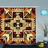QINCO Duschvorhang,Hand gezeichnete abstrakte Vektorillustration indianischen Stil,personalisierte Deko Badezimmer Vorhang,mit Haken,180 * 210