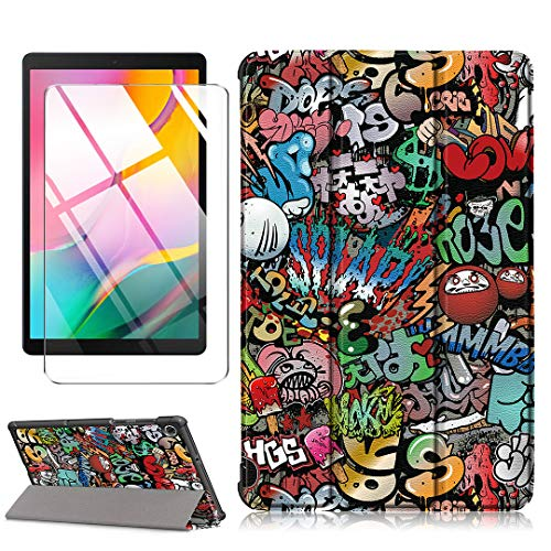 LJSM Custodia + Vetro Temperato per Lenovo Tab M10 FHD Plus TB-X606F / TB-X606X 10.3 inch - Pellicola Protettiva, Guscio Supporto Protettiva Tablet Cover in Pelle Flip PU Case - Graffiti