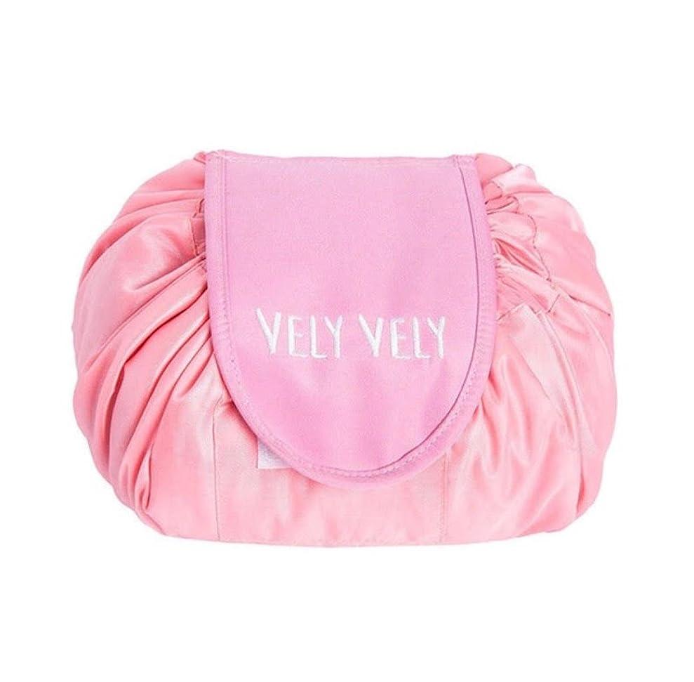 名前で愛する肉屋ange select たくさん 収納 マジック ポーチ 防水 軽量 コスメ 雑貨 巾着 便利 (ピンク)