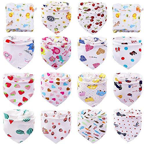 Tomkity 14 Baberos Bebe Bandanas Bufanda Toalla Drool Babas Tela para Bebé Niña Niño con 2 toallas (14+2 para niña)