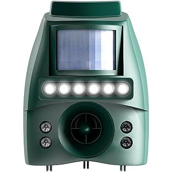 業務用 猫よけ 防水 防塵 IP65準拠 【ソーラー対応 乾電池も可】 超音波 広範囲 200㎡対応 強力LEDフラッシュライト6灯発光