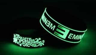 BULLET FOR MY VALENTINE EMINEM 2PCS New! Glow in the Dark Bracelet Wristband 2X 26G5