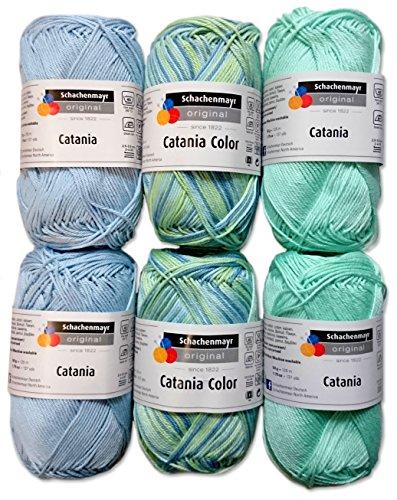 Schachenmayr 4X Catania und 2X Catania Color Set 7 Baby Mix 6x50 Gr,100% Baumwolle