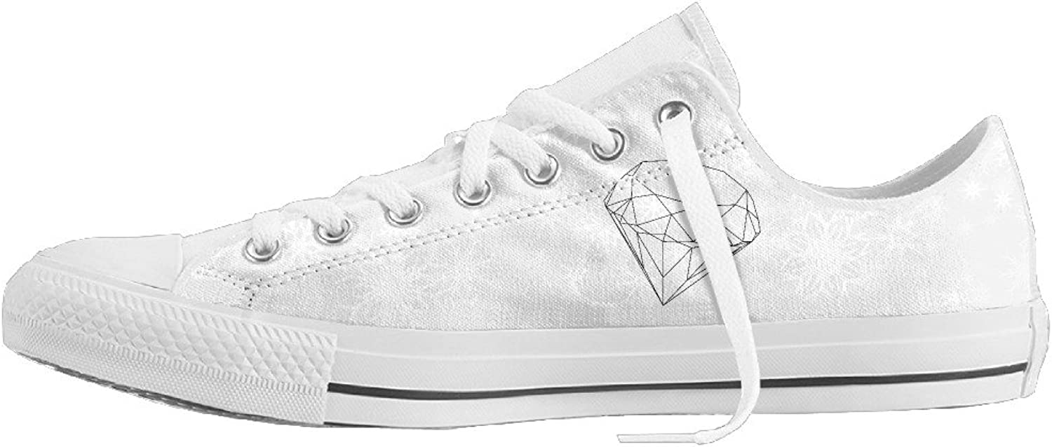 HWUED Fashion,Stylish Diamond Line Drawing Canvas shoes Low Top Print Lace-up Classic Sneaker for Men Women