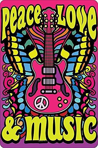 Paz, Amor y Música Estilo Vintage Metal Signo de Hierro Pintura para Interior y Exterior Hogar Bar Café Cocina Decoración de Pared 20,3 x 30,5 cm