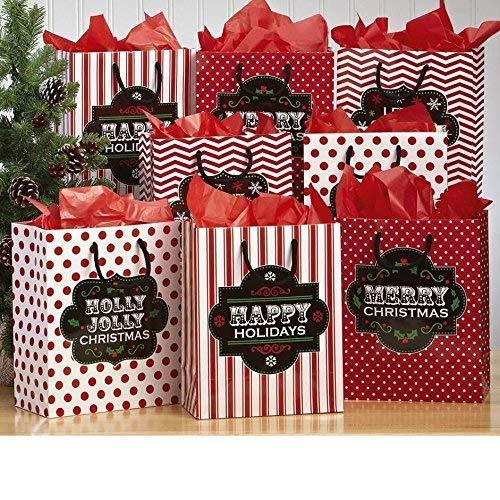 Chalkboard Christmas Gift Bags | Medium 10 inch - Christmas Gift Bags | 8 Pack