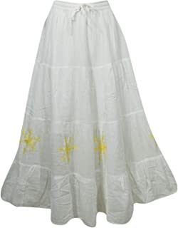 Mogul Interior Women's Peasant Maxi Skirt White Cotton Frilly Hippie Long Skirts M