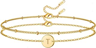 Glimmerst Initial Bracelet for Women, 18K Gold Plated Stainless Steel Layered Coin Letter Bracelet Beaded Chain Personaliz...