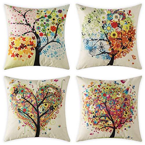 MIULEE Juego de 4 Lino Cojines Árbol Colorido Funda de Cojín Almohada Caso de Decorativo Cojines para Sala de Estar sofá Cama18 x18 Pulgadas 45x45 cm