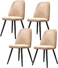 ZCXBHD Flanelowa tkanina krzesła do jadalni zestaw 4 nowoczesnych z połowy wieku jadalnia kuchnia krzesła do pokoju tapice...