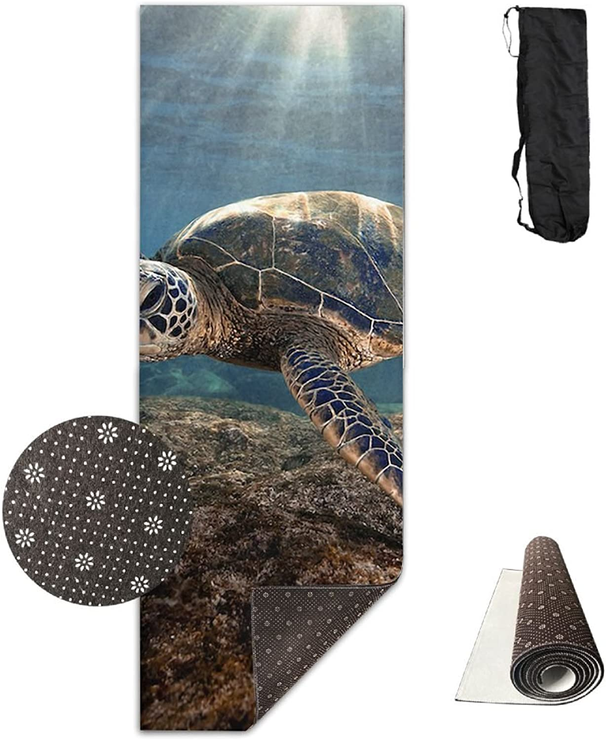 Gym Mat Sun Sea Turtle Fitness High Density AntiTear Exercise Yoga Mat With Carrying Bag For Exercise,Pilates