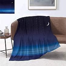 Baby boy Blankets Night Moon and Stars Over Santa Barbara Channel Infinity Foggy Pacific Ocean Dark Blue Sky Blue White Printing Blanket 70