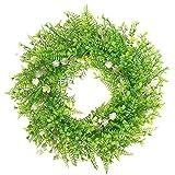 Nobranded Corona Redonda con Forma de Hojas Verdes Artificiales Corona para la decoración de la Ventana de la Pared de la Puerta