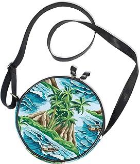 Ahomy Damen-Umhängetasche, rund, Palme, Boot, Meer, Wellen, Blumenmuster, Handy, Mini-Kuriertasche