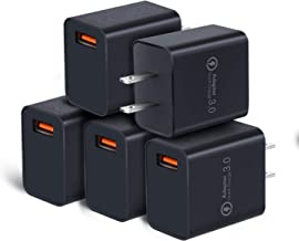 Quick Charge 3.0 Wall Charger Adapter, OKRAY 5 Pack 18W Fast Charging USB Power Adapter with Wall Plug Compatible 10W Wireless Charger, iPad Pro, Tablets, iPhone, Samsung Galaxy, LG, HTC (All Black)
