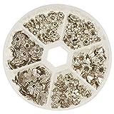 PandaHall Elite 180 Stück Tibetischen Legierung Blumen Korn Perlenkappen Zwischenperlen Metallperlen Perlkappen Antik Silber