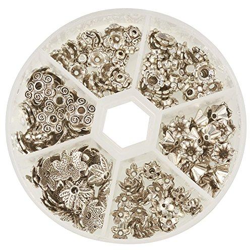Pandahall Elite - Lote de 60 cabezales para cuentas, aleación y latón, 14-18x9-16x7-9mm, agujero: 1-10mm, color plata antigua, aleación, ocre, 7~10x4~10mm