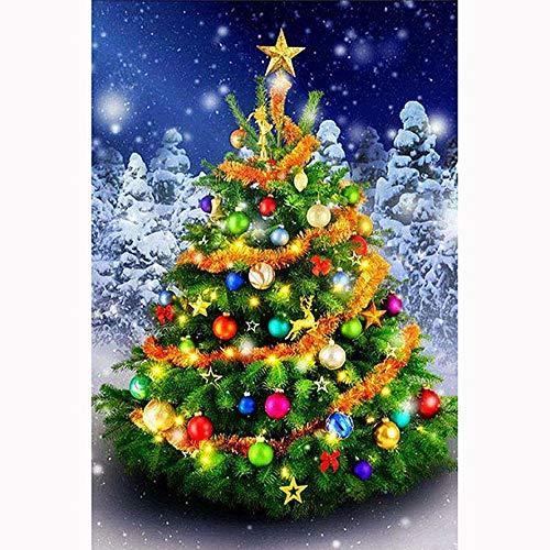 DIY 5D Christmas Diamond Painting Kit, Christmas Tree Snowman (Set by Number) Digital Painting Round Diamonds, Adult Diamond Painting Kit, Christmas Decoration Painting Cross Stitch (12x16inch)