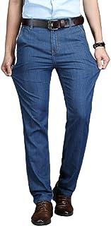 Heren klassieke rechte pijpen regular fit stijlvolle denim jeans, dunne rechte losse losse klassieke zakelijke kantoorjeans