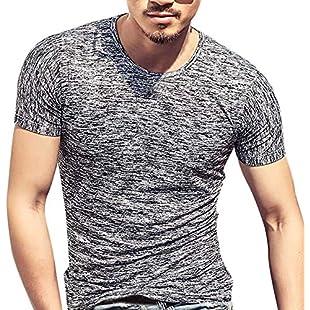 Ulanda-EU Mens T-Shirts Summer Short Sleeve Solid Tops Casual Slim Fit Regular Tees Blouse for Men Clothes Pullover Clearance (Gray, M):Tudosobrediabetes