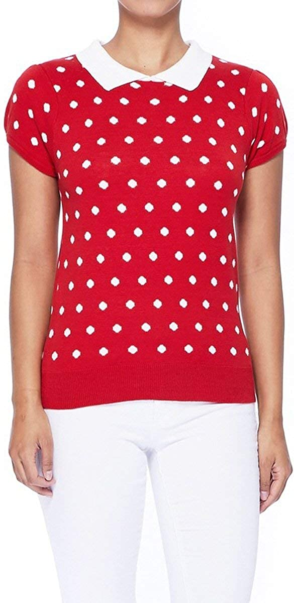 YEMAK Women's Knit Sweater Top – Short Sleeve Polka Dot Contrast Collar Puff Shoulder Classic Casual Knitted Pullover