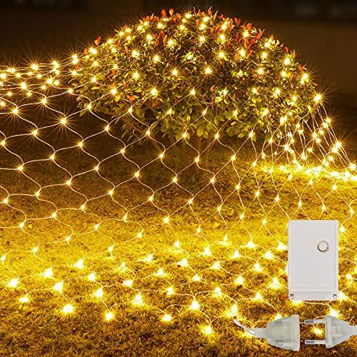 Vegena LED Lichternetz Aussen 2x2M, 144LED Lichterkette Netz 8 Modi Led Lichternetz Warmweiß, Leuchte für Innen und Außen Weihnachten Hochzeit Partydekoration Wohnzimmer Kinderzimmer Anschließbar