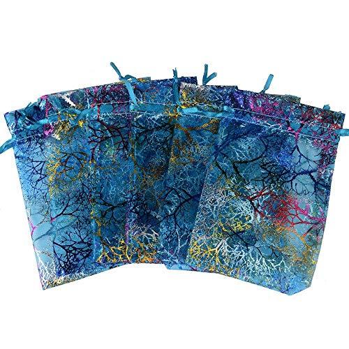 50 bolsas de organza con cordón para joyas, bolsas de regalo para bodas, fiestas, regalos, joyas, bolsas de almacenamiento de joyas, bolsas de lana, color azul, 17 x 23 cm