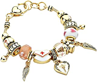 Lola Bella Gifts Goldtone Nurse RN Angel Theme Charm Bracelet with Gift Box